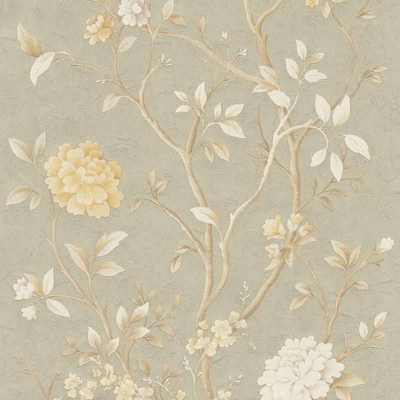 Carta da parati motivo floreale cinese oro chiaro beige bianco for Carta da parati oro