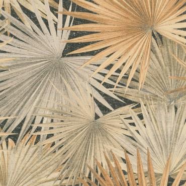 Carta da parati foglie di papiro marrone