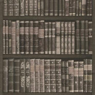 Carta da parati biblioteca libreria antica grigia for Carta parati grigia