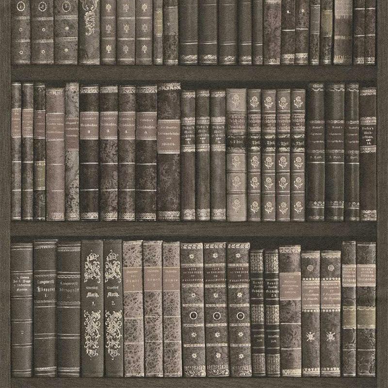 Carta da parati biblioteca libreria antica grigia for Carta da parati damascata grigia