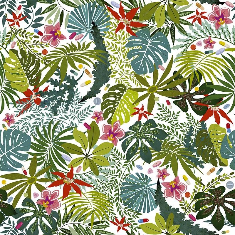 carta da parati paradiso artificiale con foglie tropicali officinali. Black Bedroom Furniture Sets. Home Design Ideas