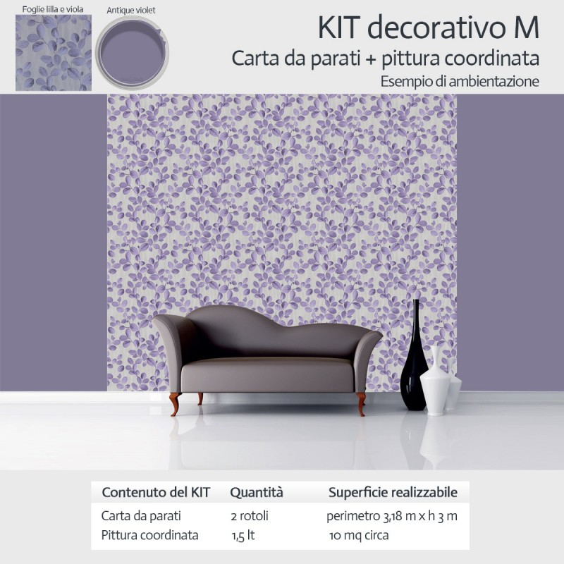 carta da parati e pittura coordinata decorazione casa kit medium