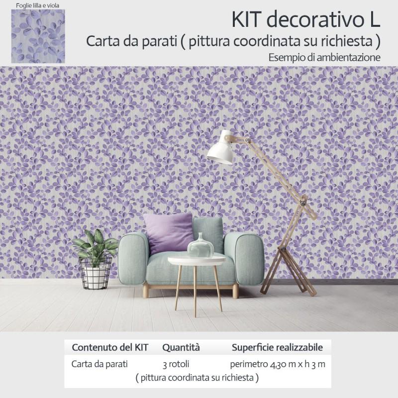 Kit decorativo carta da parati e pittura coordinata con motivo floreale
