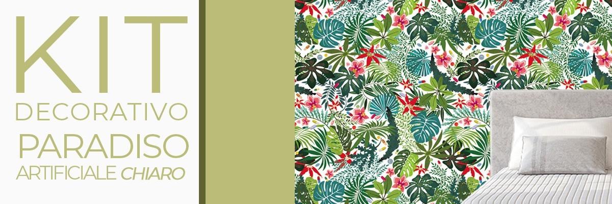 Kit PARADISO ARTIFICIALE CHIARO| carta da parati e pittura coordinata