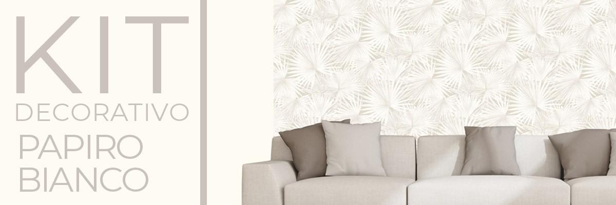 Kit decorativo PAPIRO BIANCO | carta da parati e pittura coordinata