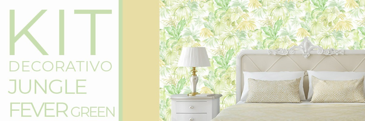 Kit decorativo JUNGLE FEVER GREEN | carta da parati e pittura coordina