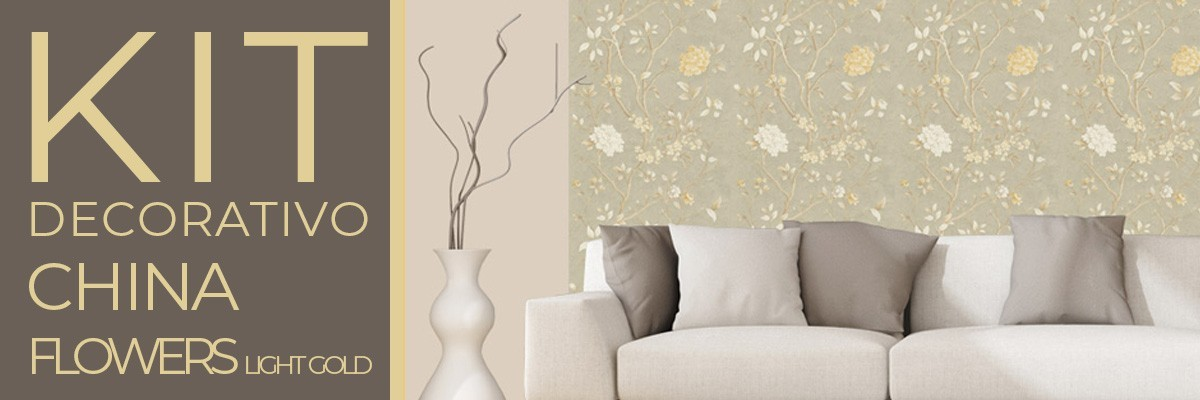 Kit CHINA FLOWERS LIGHT GOLD | carta da parati e pittura coordinata