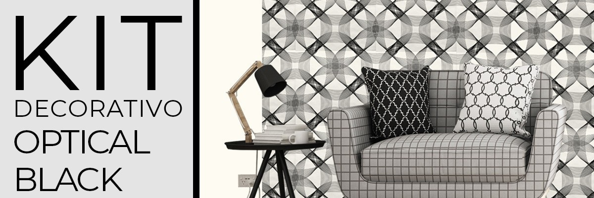 Kit decorativo OPTICAL BLACK | carta da parati e pittura coordinata