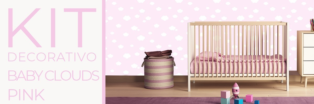 Kit decorativo BABY CLOUDS PINK | carta da parati e pittura coordinata