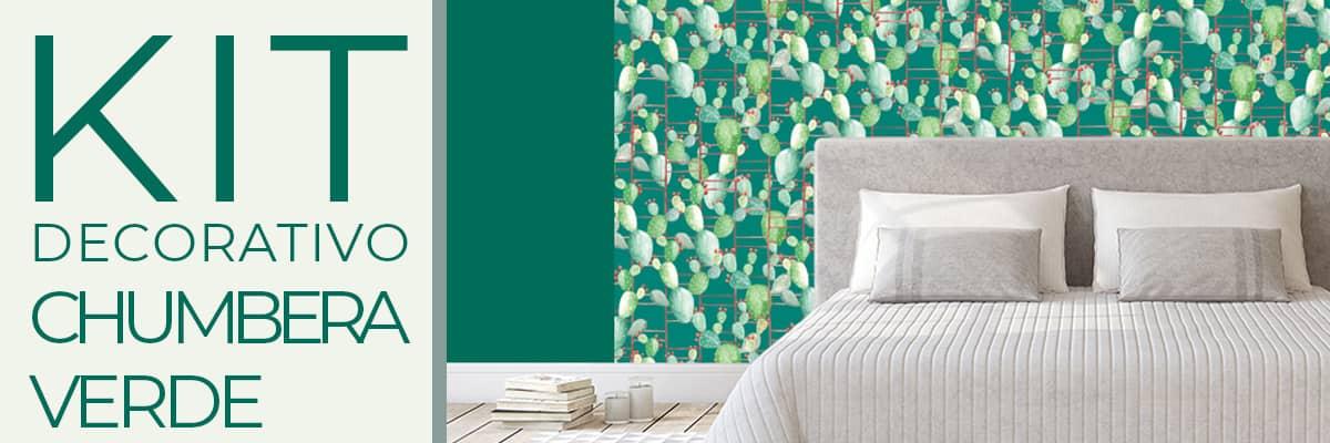 Carta da parati e pittura coordinata Kit decorativo Chumbera verde decorazione casa paratiepitture