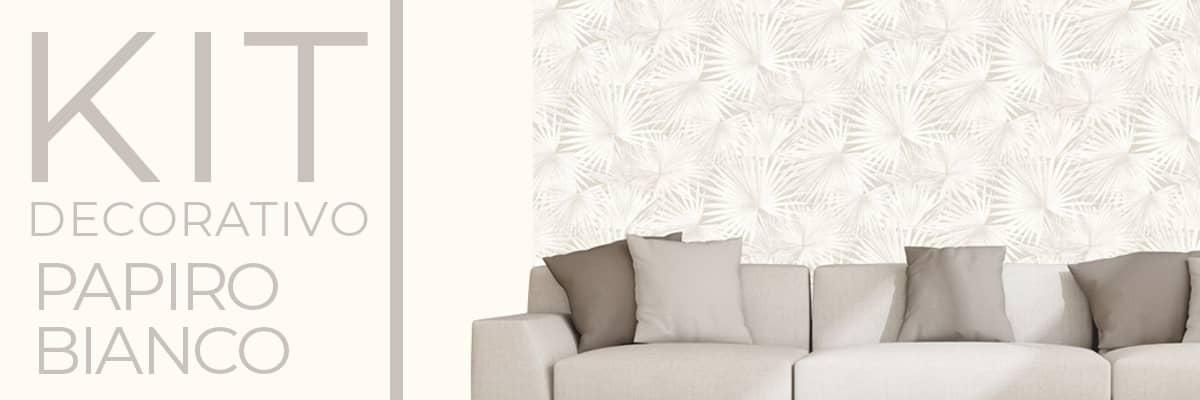 Carta da parati e pittura coordinata Kit decorativo Papiro Bianco decorazione casa paratiepitture